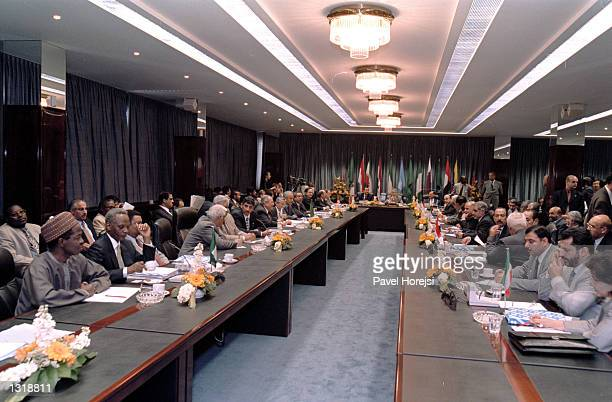 Members of The Organization Of Petroleum Exporting Countries OPEC meet June 5 2001 in the Austrian capital of Vienna OPEC members are set to discuss...