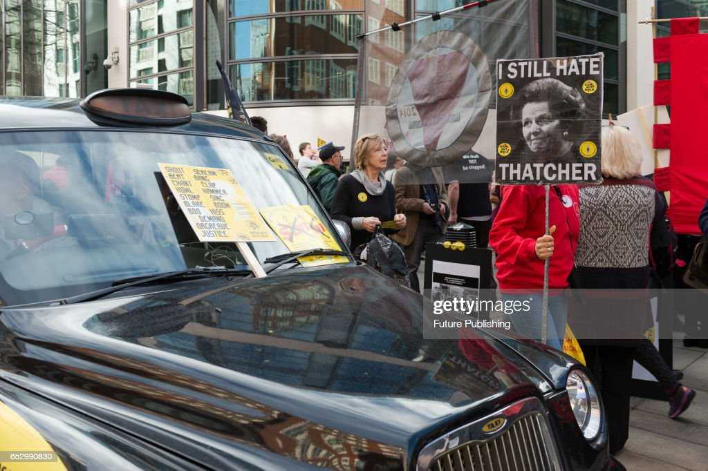 Members of the Orgreave Truth and Justice Campaign (OTJC) and supporters hold a noisy demonstration outside the Home Office March 13, 2017 in London, England. The protesters demand a public inquiry into police brutality against striking miners at the Orgreave coking plant on 18th June 1984, which Home Secretary, Amber Rudd decided not to grant. Wiktor Szymanowicz / Barcroft Images hello@barcroftmedia.com - +1 212 796 2458 +91 11 4053 2429
