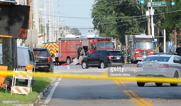 Members of the Orlando City Fire Rescue seen around Pulse nightclub after a fatal shooting and hostage situation on June 12 2016 in Orlando Florida...