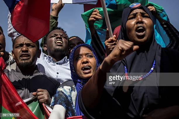 Members of the Oromo Ogaden and Amhara community in South Africa demonstrate against the ongoing crackdown in the restive Oromo and Amhara region of...