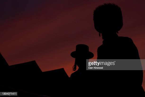 Members of the Orthodox Jewish community in Stamford Hill at sunset, the start of Purim on February 25, 2021 in London, England. Last year's Purim...