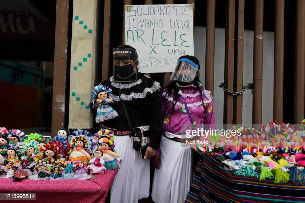 Members of the Otomi Hnahnu community originally from the State of Queretaro and living in Mexico City on May 18 2020 organized a food collection and...