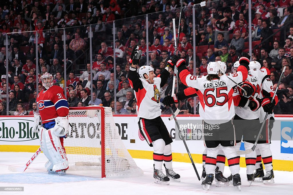 Members of the Ottawa Senators celebrate the first period goal by Milan Michalek #9 in Game One of the Eastern Conference Quarterfinals during the 2015 NHL Stanley Cup Playoffs at the Bell Centre on April 15, 2015 in Montreal, Quebec, Canada.