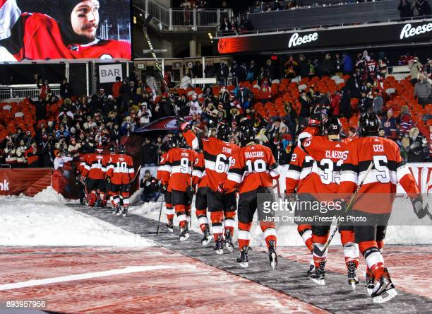 Members of the Ottawa Senators exit the ice following their shutout win against the Montreal Canadiens during the of the 2017 Scotiabank NHL100...