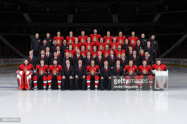 Members of the Ottawa Senators pose for their official 201718 NHL team photo at Canadian Tire Centre on March 7 2018 in Ottawa Ontario Canada