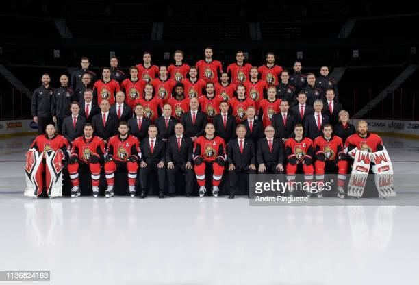 Members of the Ottawa Senators pose for their official 201819 NHL team photo at Canadian Tire Centre on March 15 2019 in Ottawa Ontario Canada