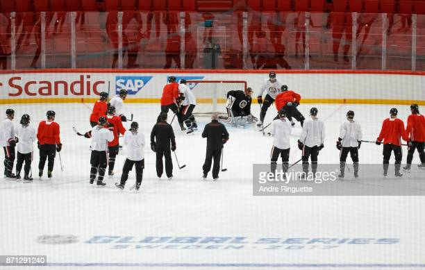 Members of the Ottawa Senators practice at Ericsson Globe on November 7 2017 in Stockholm Sweden
