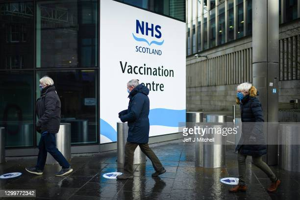 Members of the over 70s arrive at the EICC to receive their first dose of coronavirus vaccination on February 1, 2021 in Edinburgh, Scotland. Mass...