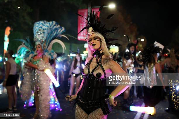 Members of the 'OZ Fag Hag' float celebrate during the 2018 Sydney Gay Lesbian Mardi Gras Parade on March 3 2018 in Sydney Australia The Sydney Mardi...