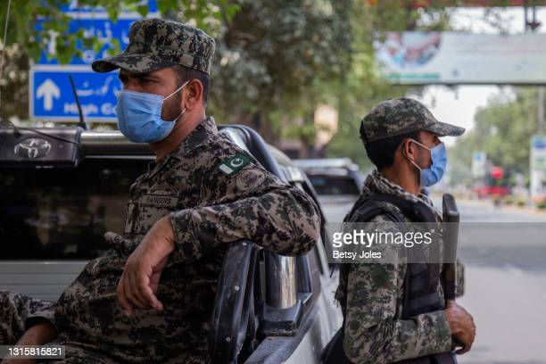 Members of the Pakistan Rangers, a paramilitary federal law enforcement organization, patrol to enforce lockdown measures on May 02, 2021 in Lahore,...