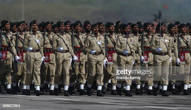 Members of the Pakistani Armed Forces attend a military parade to mark Pakistan's National Day in Islamabad Pakistan on March 23 2018