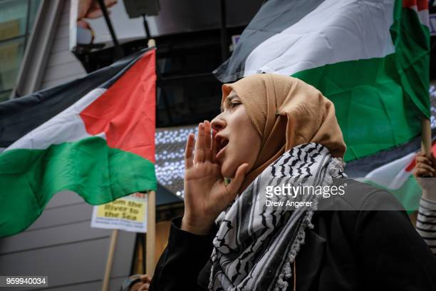 Members of the Palestinian community fellow Muslims and their supporters rally in support of the Palestinian people in the wake of the recent...