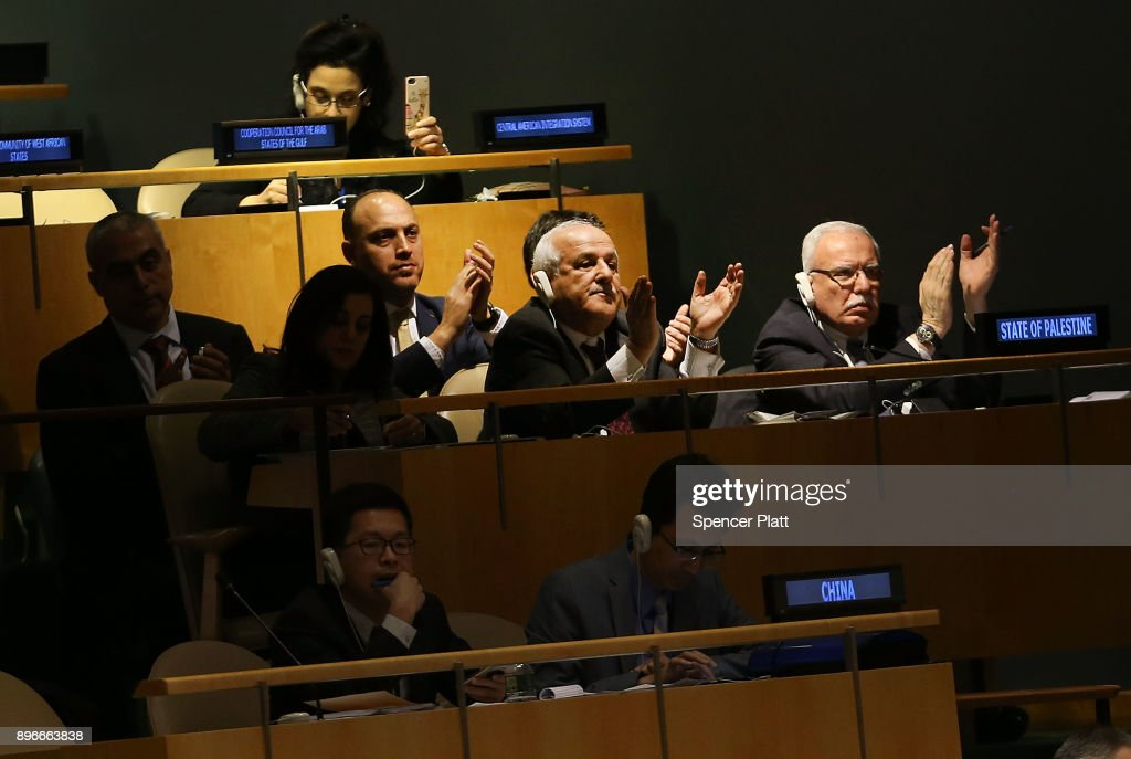 Members of the Palestinian delegation clap after a vote on the floor of the United Nations General Assembly in which the United States declaration of Jerusalem as Israel's capital was declared 'null and void' on December 21, 2017 in New York City. The vote, 128-9, at the United Nations concerned Washington's decision to recognize Jerusalem as Israel's capital and relocate its embassy there. The Trump administration has threatened to take action against any country that votes against the United States decision to move its embassy.