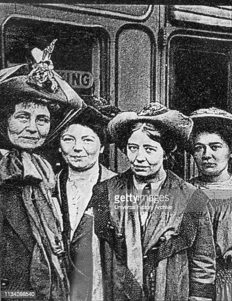 Members of the Pankhurst suffragette family who campaigned for women to have the vote in Britain Left to right Emmeline Pankhurst one of the founders...
