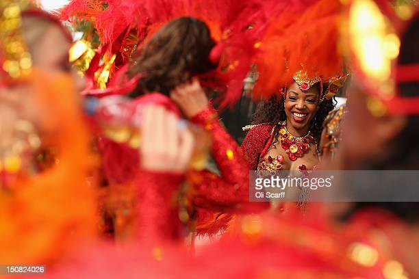 Members of the Paraiso School of Samba prepare to perform at the Notting Hill Carnival on August 27 2012 in London England The annual 2day carnival...