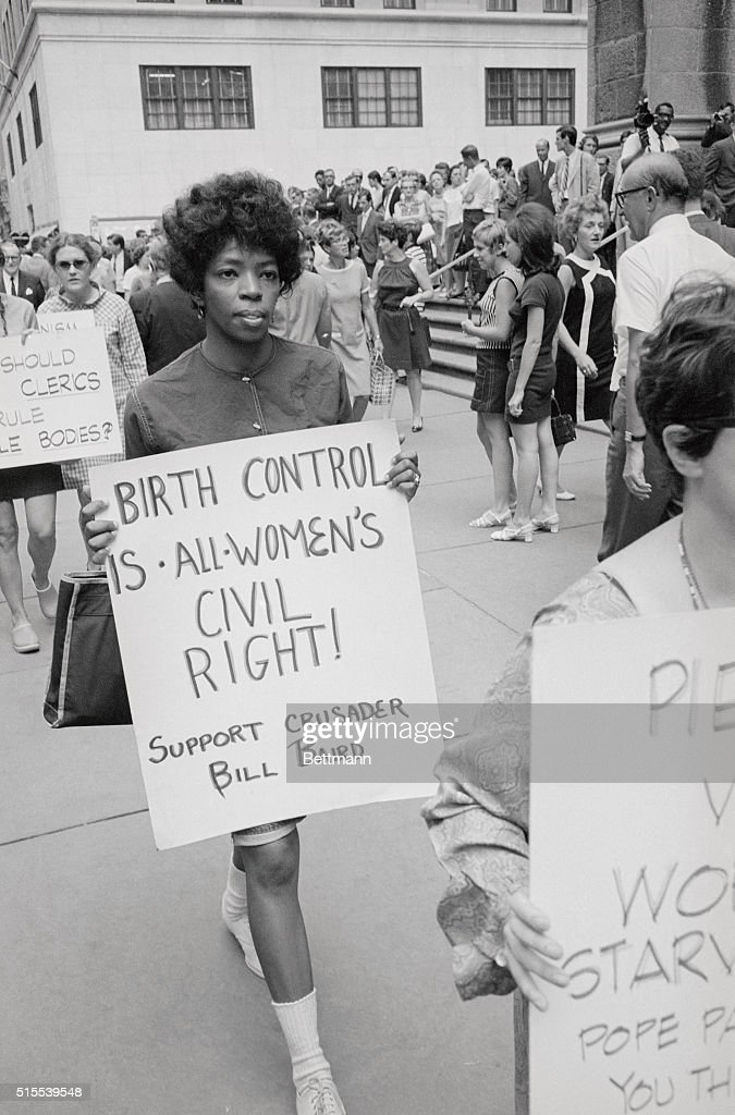 Protesters Carrying Signs on Birth Control : News Photo