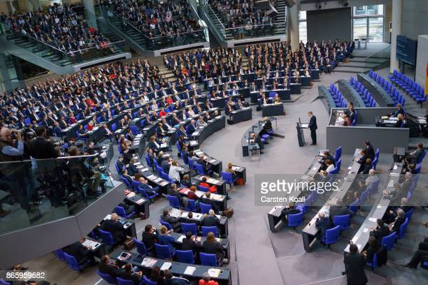 Members of the parliament attend the opening session of the new Bundestag on October 24 2017 in Berlin Germany Today's is the first session since...