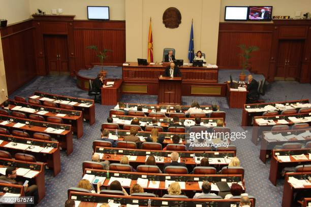 Members of the parliament attend the session on name dispute between Greece and Macedonia in order to end this in Skopje Macedonia on July 05 2018...