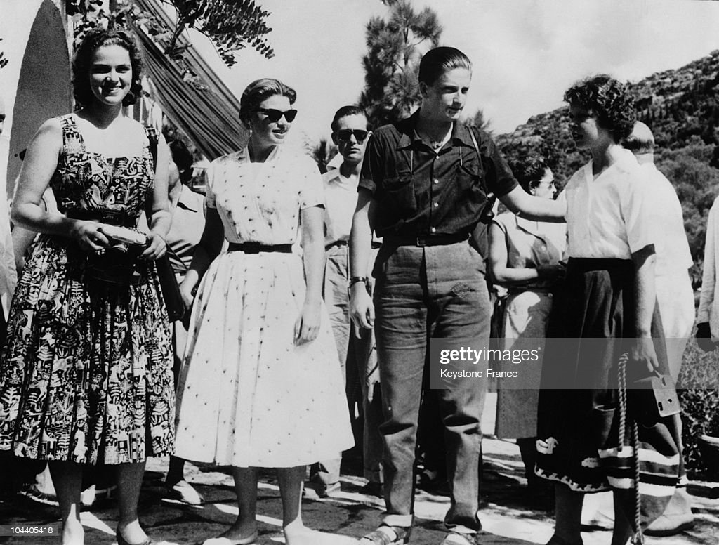 Members of the party on arrival on the isle of Corfu. Left to right Two German Princesses, Ex-King SIMEON of Bulgaria and Princess Irene of Greece. Members of the European Royal Royalties who are taking part in the Mediterranean cruise as guests of the King and Queen of Greece - arrived at the Island of Corfu. They are using the Greek vessel ACHILLEUS.