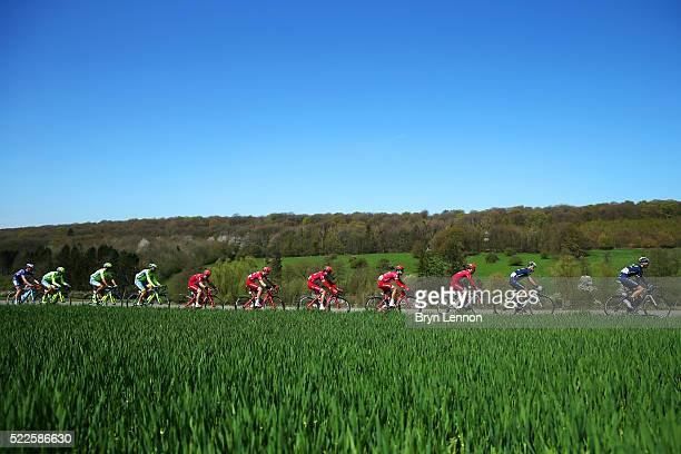 Members of the peloton ride during the 80th La Fleche Wallonne at an unspecified location along the 196 km route from MarcheenFamenne to Huy on April...