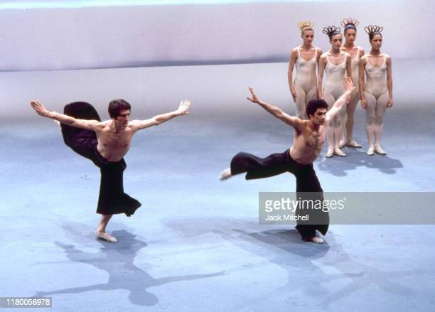 Members of the Pennsylvania Ballet perform on an episode of the PBS television series 'Dance in America', 1976.