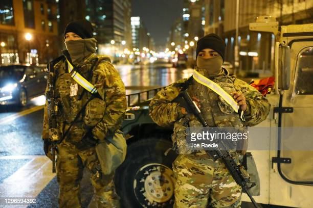 Members of the Pennsylvania National Guard stand guard on January 15, 2021 in Washington, DC. According to reports, as many as 25,000 National Guard...