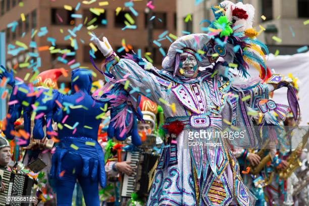 Members of the Pensport String Band perform at the Philadelphia Mummers Parade Hundreds of performers comics and musicians gathered for the 118th...