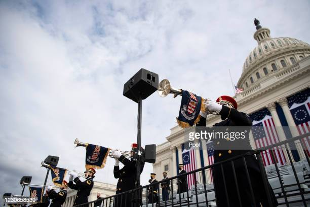 Members of the Pershings Own band practice performing during a rehearsal for the inaugural ceremony for President-elect Joe Biden and Vice...