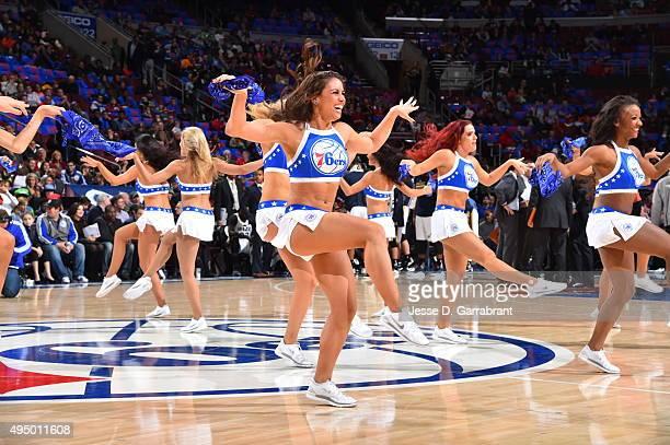 Members of the Philadelphia 76ers dance team perform for the crowd against the Utah Jazz at Wells Fargo Center on October 30 2015 in Philadelphia...