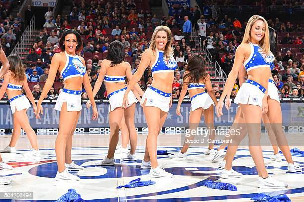 Members of the Philadelphia 76ers dance team perform for the crowd against the Toronto Raptors at Wells Fargo Center on January 9 2015 in...