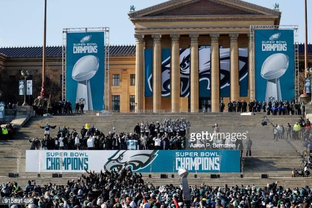 Members of the Philadelphia Eagles celebrate during a ceremony honoring their Super Bowl win on February 8 2018 in Philadelphia Pennsylvania