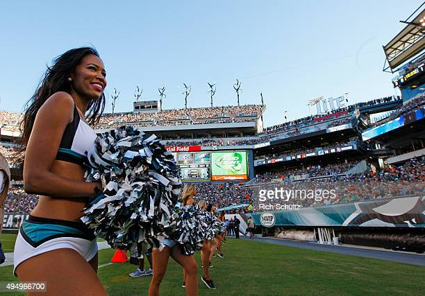 Members of the Philadelphia Eagles cheerleaders perform during a game against the Dallas Cowboys at Lincoln Financial Field on September 20 2015 in...