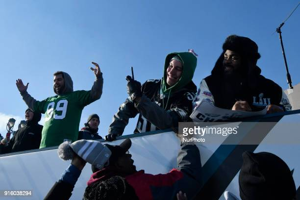 Members of the Philadelphia Eagles Super Bowl champion team are joined by fans at the Art Museum steps in Philadelphia PA on February 8 2018 Hundreds...