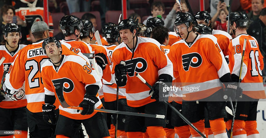 Members of the Philadelphia Flyers celebrate after defeating the Ottawa Senators 5-2 on November 19, 2013 at the Wells Fargo Center in Philadelphia, Pennsylvania.