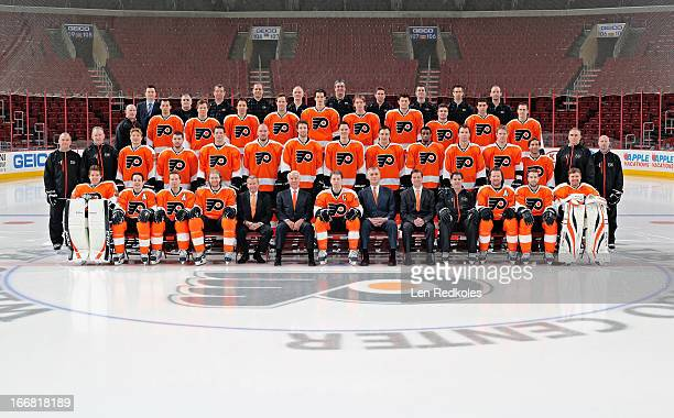 Members of the Philadelphia Flyers pose for the official 20122013 team photograph on April 17 2013 at the Wells Fargo Center in Philadelphia...