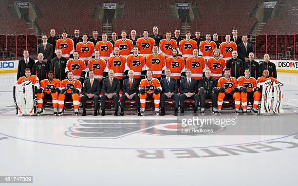 Members of the Philadelphia Flyers pose for the official 20132014 team photograph at the Wells Fargo Center on March 31 2014 in Philadelphia...