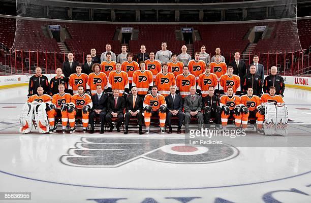 Members of the Philadelphia Flyers pose for their 20082009 Team Photo on April 6 2009 at the Wachovia Center in Philadelphia Pennsylvania