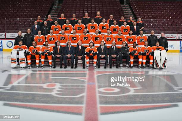 Members of the Philadelphia Flyers pose for their official 201617 NHL Team Photo on March 20 2017 at the Wells Fargo Center in Philadelphia...