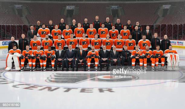 Members of the Philadelphia Flyers pose for their official 20172018 team photo on March 14 2018 at the Wells Fargo Center in Philadelphia Pennsylvania