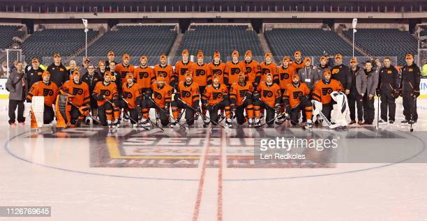 Members of the Philadelphia Flyers pose for their team photo during their practice in preparation for the 2019 Coors Light NHL Stadium Series against...