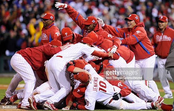 Members of the Philadelphia Phillies celebrate victory over the Tampa Bay Rays during the continuation of game five of the 2008 MLB World Series on...