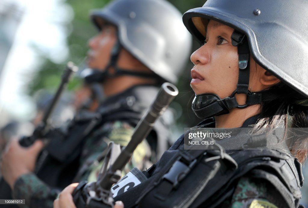 Members of the Philippine National Police (PNP) Special Action Force (SAF) stand in formation during the SAF's 27th anniversary at Camp Crame in Quezon City, east of Manila on May 24, 2010. The SAF is the Philippines' counter terrorism force.