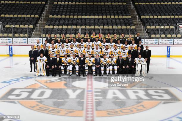 Members of the Pittsburgh Penguins pose for their official NHL Team Photo at PPG Paints Arena on March 29 2017 in Pittsburgh Pennsylvania