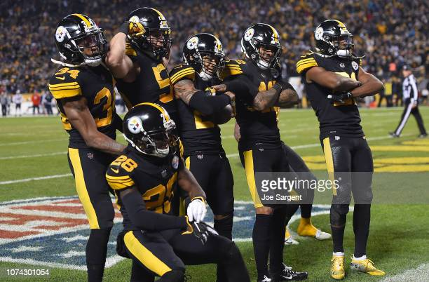 Members of the Pittsburgh Steelers defense reacts after an interception by Joe Haden in the fourth quarter during the game against the New England...