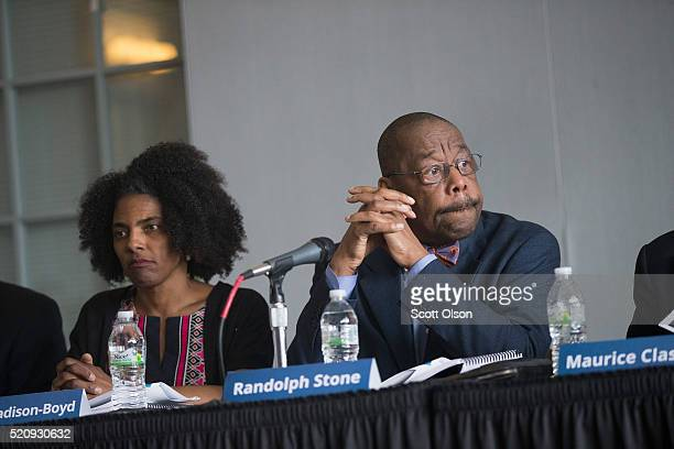 Members of the Police Accountability Task Force Sybil MadisonBoyd and Randolph Stone listen as their findings are presented to community leaders and...