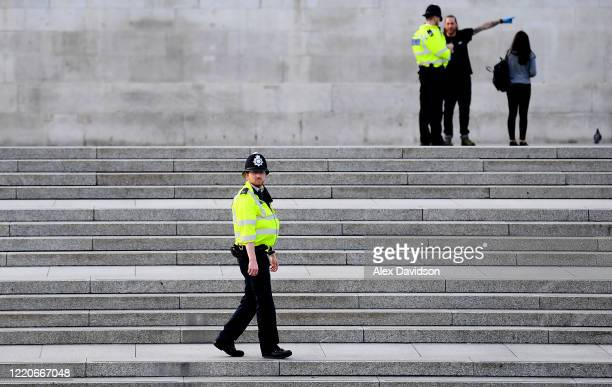 Members of the Police patrol Trafalgar Square on April 23 2020 in London England The British government has extended the lockdown restrictions first...