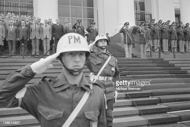 Members of the Policia Militar, the Argentine military police, in Buenos Aires, Argentina, during the military junta led by General Leopoldo...