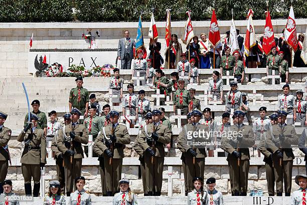 Members of the Polish guard stand during the Polish commemoration service ceremony at Polish Cemetery on May 18 2014 in Monte Cassino Italy Prince...