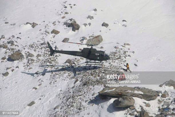 Members of the Polish K2 expedition rescue French climber Elisabeth Revol in Nanga Parbat on January 28 2018 An elite group of climbers saved a...