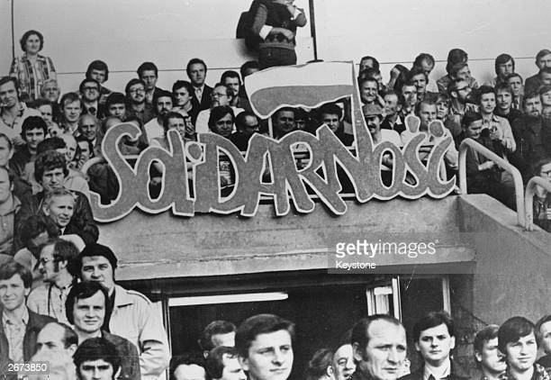 Members of the Polish Solidarity Union demonstrate outside the Courts in Warsaw